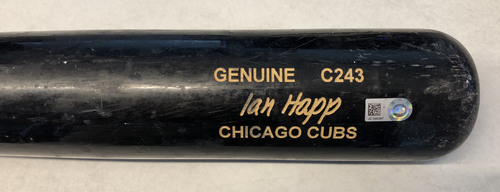Photo of Ian Happ Game-Used Cracked Bat -- Matt Harvey to Ian Happ, Pop Out, Bot 5 -- Reds vs. Cubs -- 9/14/18