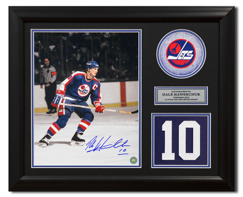 Dale Hawerchuk Winnipeg Jets Signed Franchise Jersey Number 23x19 Frame
