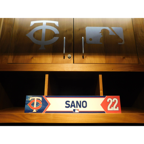 Photo of 2018 Miguel Sano Game-Used Locker Name Plate