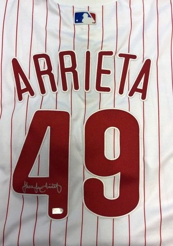 Photo of Jake Arrieta Autographed Phillies Authentic Jersey