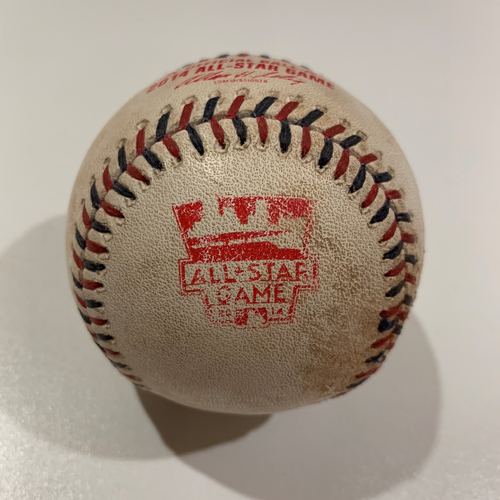 Photo of 2014 All Star Game - Game Used Baseball - Batter: Jonathan Lucroy Pitcher: Jon Lester - RBI Double