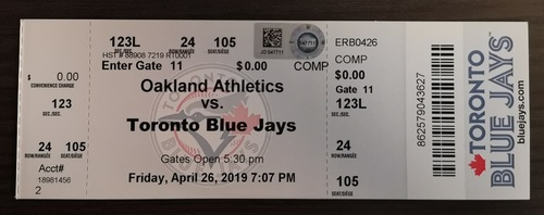 Photo of Authenticated Team Issued Ticket - MLB Debut for Vladimir Guerrero Jr. (Apr. 26, 19 vs OAK)