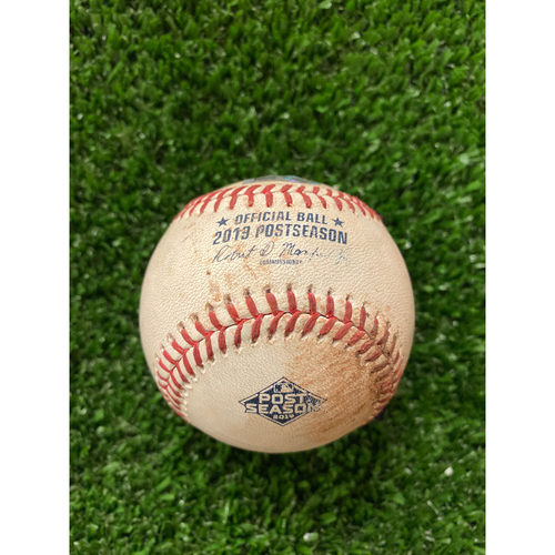 Photo of Game Used Baseball- Pitcher: Max Fried, Batter: Paul DeJong, Strikeout, Also pitched to Harrison Bader - 10/4/2019 NLDS Game 4