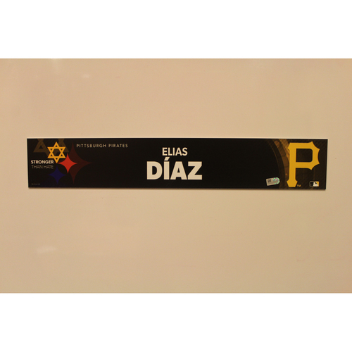 2019 Game Used Locker Nameplate - Elias Diaz
