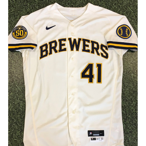 Photo of David Phelps 2020 Team-Issued Home Cream Jersey
