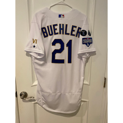 Photo of Walker Buehler Special-Edition Home Opening Weekend Gold-Outlined Game-Used Jersey