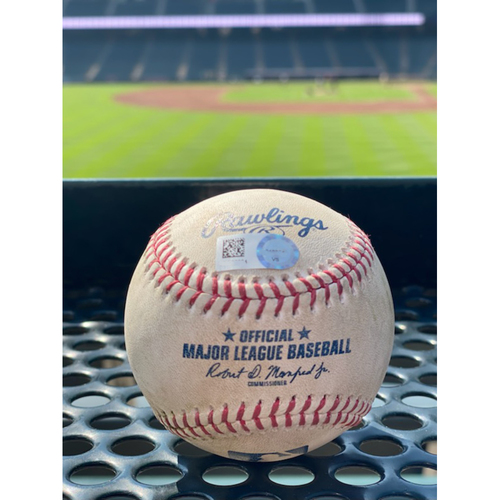 Photo of Game-Used Baseball - Pitcher: Tyler Kinley, Batter: Justin Turner (2 RBI Double to Garrett Hampson) - July 17, 2021