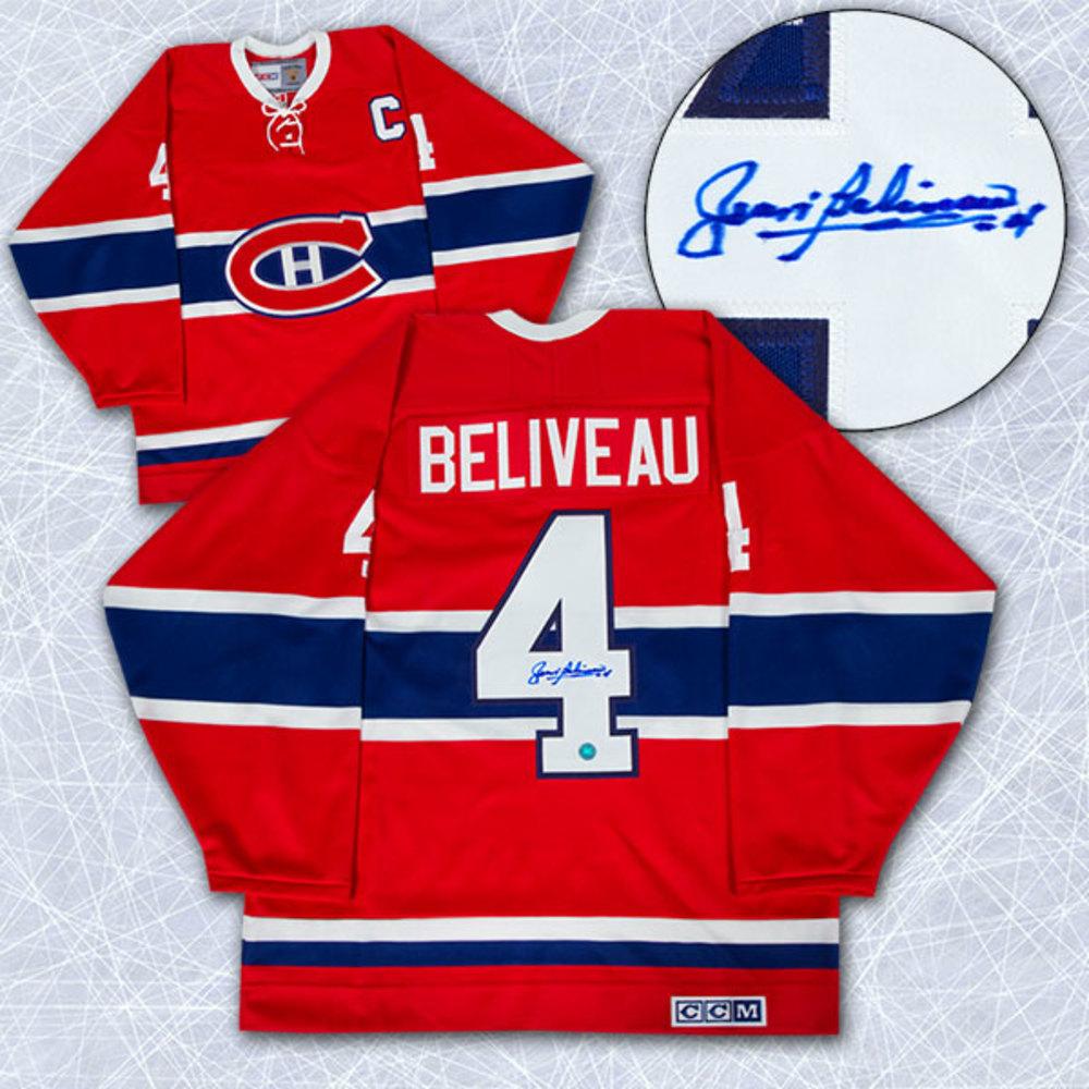 Jean Beliveau Montreal Canadiens Autographed Retro CCM Hockey Jersey