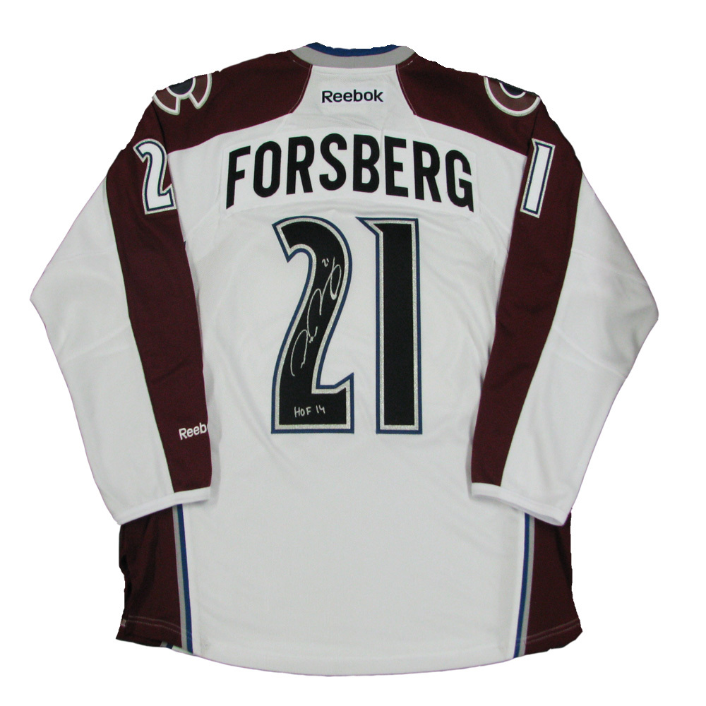 PETER FORSBERG Signed Colorado Avalanche Reebok White Jersey with HOF 2014 Inscription