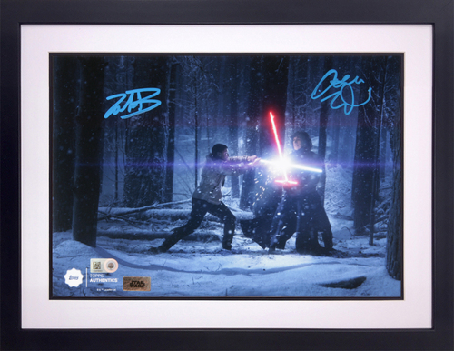 John Boyega as Finn and Adam Driver as Kylo Ren 8x10 Dual Autographed in Blue Ink Framed Photo Snow Fight Dual