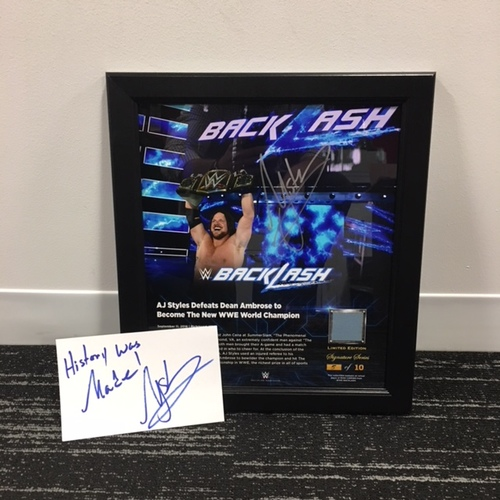 Photo of AJ Styles SIGNED 15 x 17 Framed Plaque w/ Ring Canvas