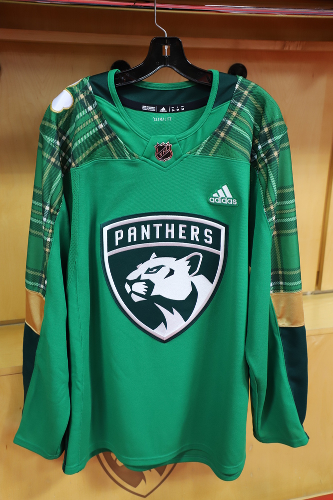 ... fdabc 18 Micheal Haley Panthers Warm-Up Worn and Autographed St.  Patricks Day  e9de1 d84f5 Florida Panthers Adidas Authentic Home NHL Hockey  Jersey . ... 8da65a51c