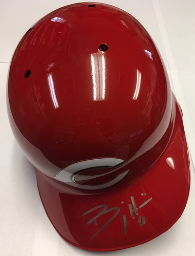 Photo of Billy Hamilton Autographed Reds Batting Helmet