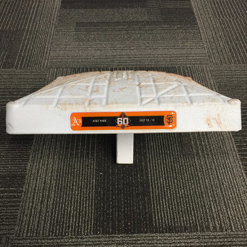 Photo of 2018 San Francisco Giants - Game Used Base vs. Oakland Athletics on July 14th, 2018 - 1st Base from Innings 1-3