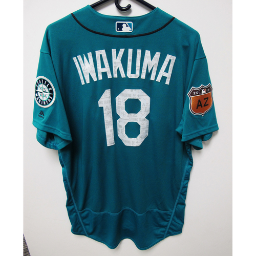 Photo of Seattle Mariners Hisashi Iwakuma Team Issued 2017 Spring Training Green Jersey