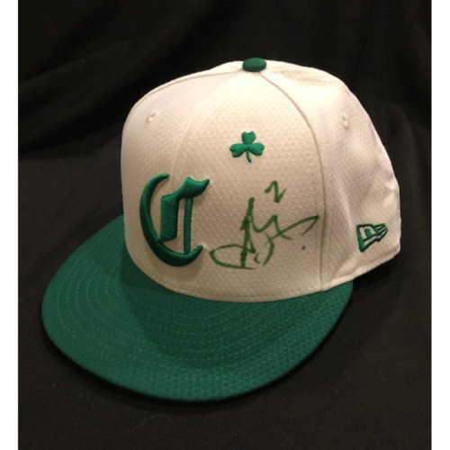 Photo of Alex Blandino -- Autographed & Game-Used Cap -- 2019 St. Patrick's Day