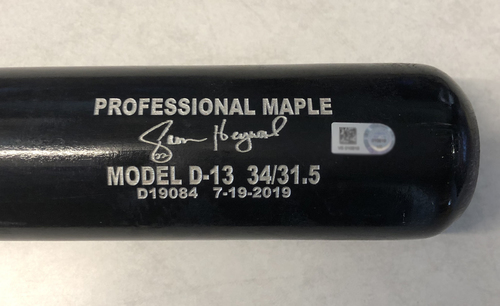 Photo of Jason Heyward Game-Used Cracked Bat -- Brett Anderson to Jason Heyward, Single, Bot 3 -- Athletics vs. Cubs -- 8/6/19
