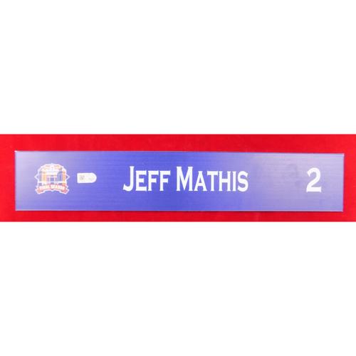 Final Season Game-Used Locker Tag - Jeff Mathis - 9/13/19 vs OAK