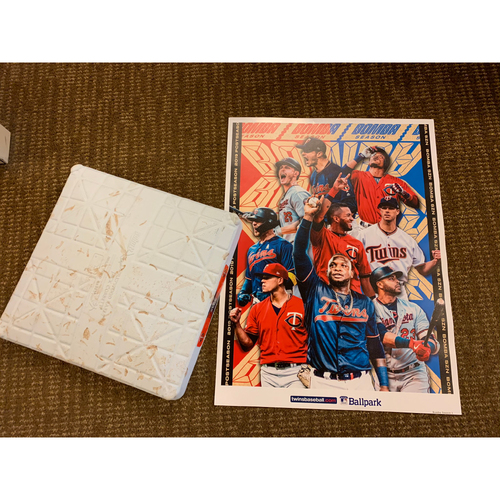 Photo of 2019 ALDS Game-Used Base and Postseason Poster