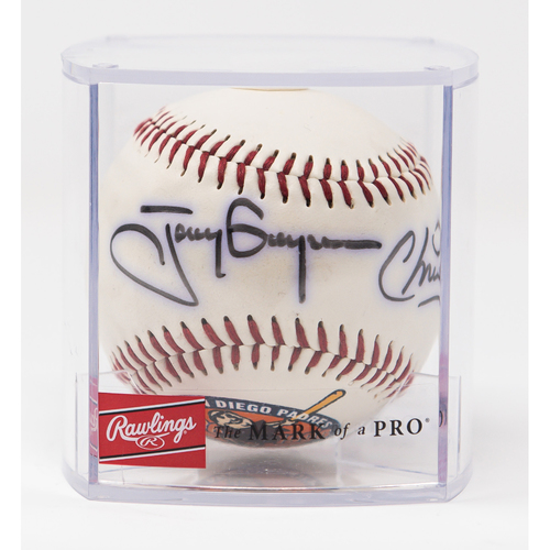 Photo of Tony & Chris Gwynn 60th Anniversary Autographed Baseball (Not MLB Authenticated, COA Included)