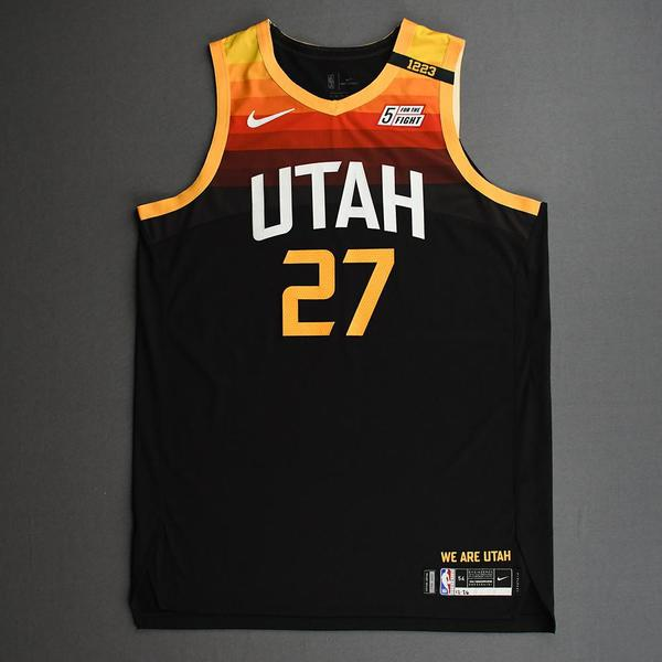 Image of Rudy Gobert - Utah Jazz - Game-Worn City Edition Jersey - Recorded a Double-Double - 2020-21 NBA Season