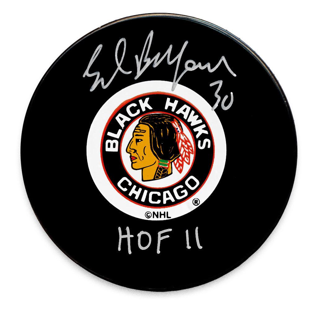 Ed Belfour Chicago Blackhawks HOF Autographed Puck
