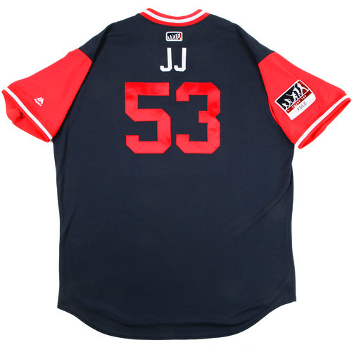 "Photo of Jim ""JJ"" Johnson Atlanta Braves 2017 Game-Used Players Weekend Jersey"