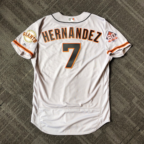 Photo of San Francisco Giants - Mother's Day Game-Used Jersey - #7 Gorkys Hernandez - HOMERUN (size 48)