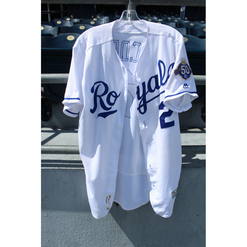 Photo of Game-Used Jersey: Alcides Escobar Sacrifice Bunt (Size 44 - CWS @ KC - 9/10/18)