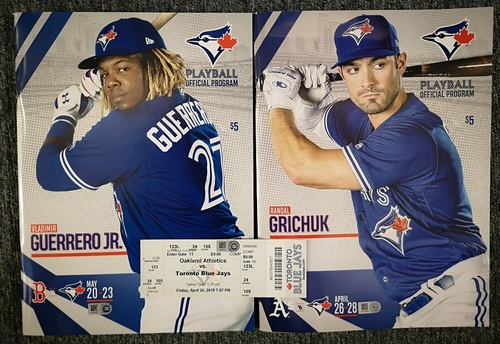 Photo of Package - Authenticated Team Issued Ticket and Program from MLB Debut for Vladimir Guerrero Jr. (Apr. 26, 19 vs OAK) and 1st Blue Jays Program Cover for Guerrero Jr. (May 20, 19 vs BOS)