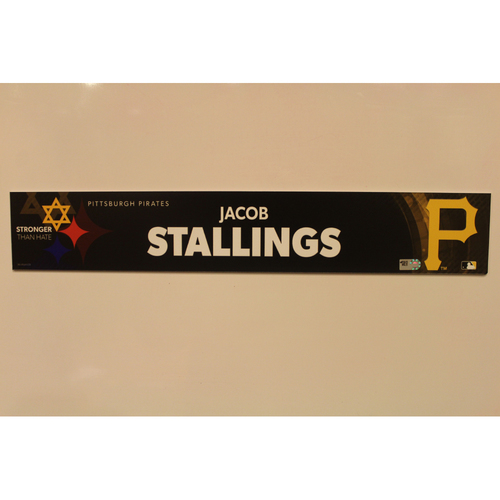 2019 Game Used Locker Nameplate - Jacob Stallings