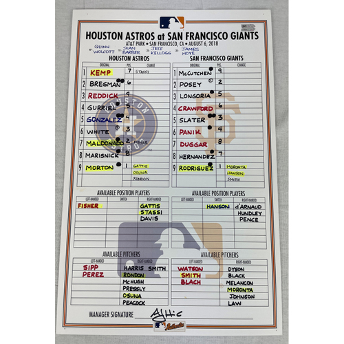 Photo of Game-Used Lineup Card August 6, 2018 Houston Astros at San Francisco Giants