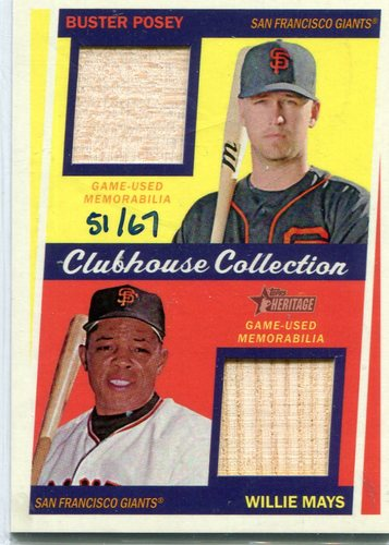 Photo of 2016 Topps Heritage Clubhouse Collection Dual Relics Buster Posey/Willie Mays 51/67