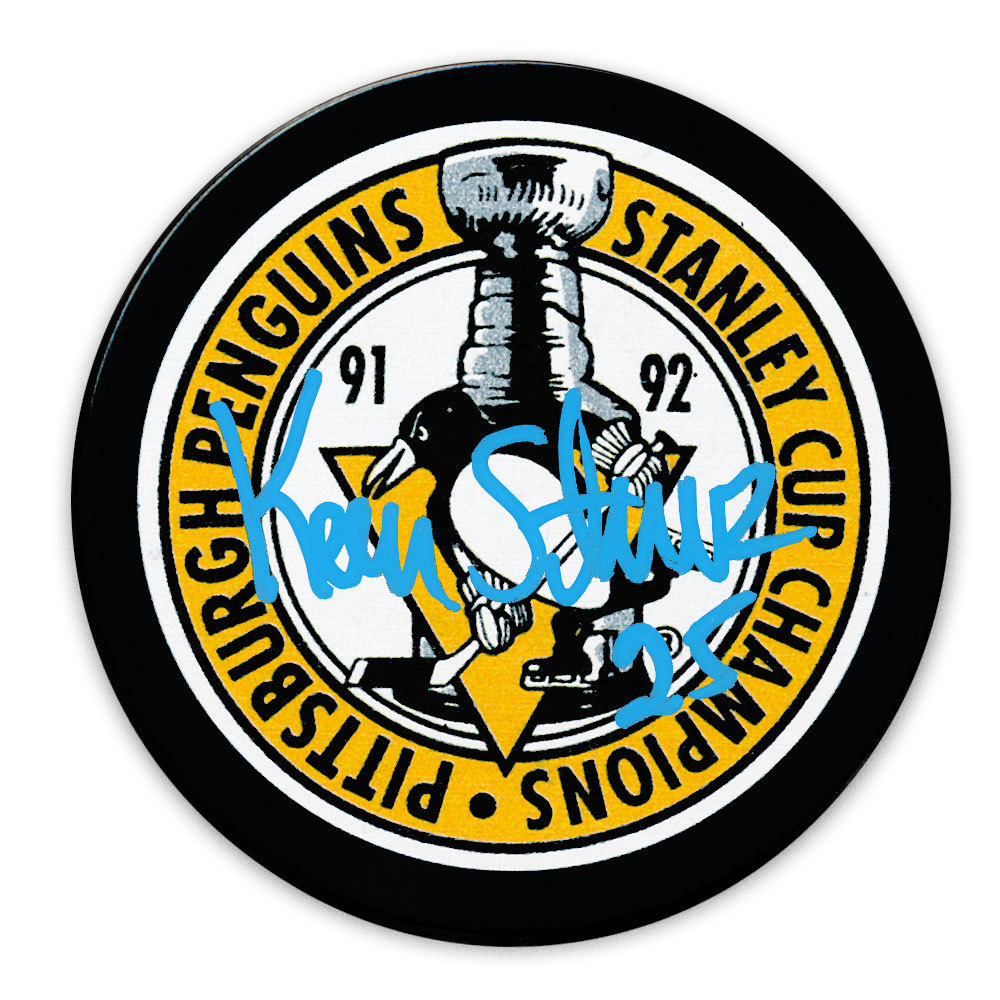 Kevin Stevens Pittsburgh Penguins 1992 Stanley Cup Champions Autographed Puck
