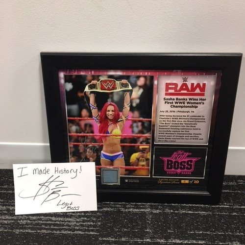 Photo of Sasha Banks SIGNED 15 x 17 Framed Plaque w/ Ring Canvas