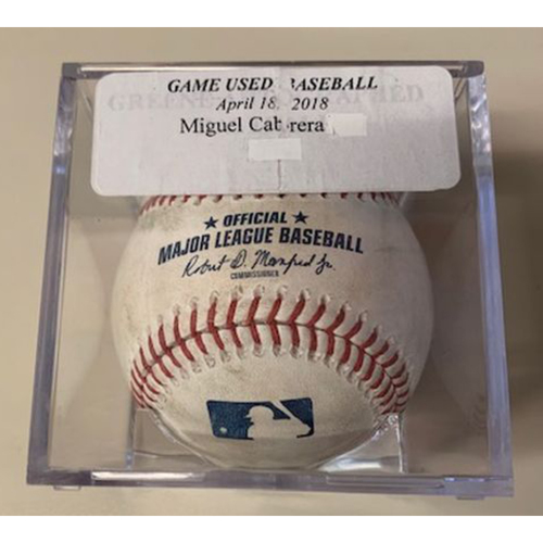 Photo of Game-Used Baseball: Ball Pitched to Miguel Cabrera