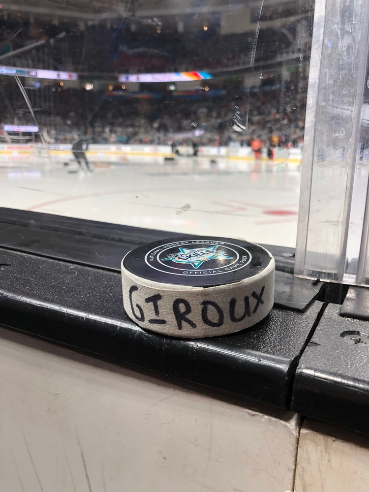 Claude Giroux Philadelphia Flyers Metropolitan Division Gatorade NHL Puck Control Event-Used Puck