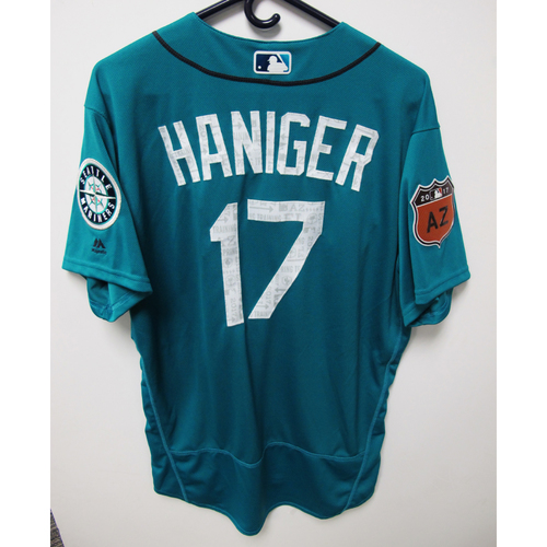 Photo of Seattle Mariners Mitch Haniger Team Issued 2017 Spring Training Green Jersey