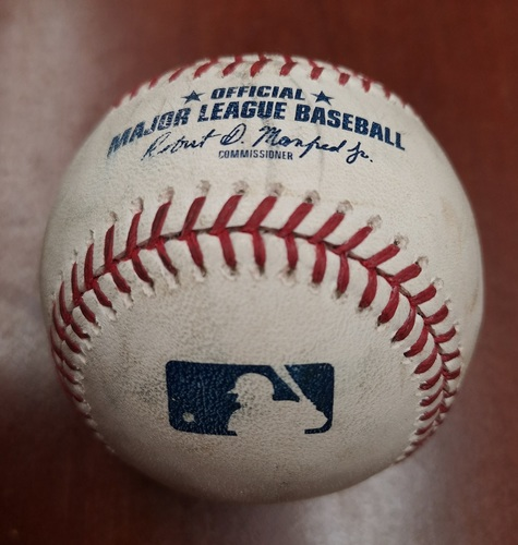 Photo of Authenticated Game Used Baseball - Single by Vladimir Guerrero Jr. against Ivan Nova (May 11, 2019 vs CWS). Bottom 1. Career Hit #7, hardest hit ball by Blue Jay in StatCast Era and 1st Career Multi-Hit Game
