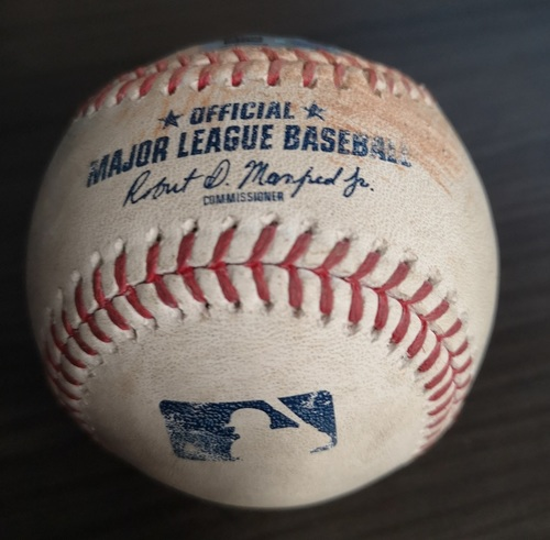 Photo of Authenticated Game Used Baseball: RBI Double by JD Martinez against Clay Buchholz (Sept 12, 19 vs BOS). Top 3.