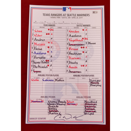 Photo of Game-Used Line-Up Card - April 28, 2019 - Texas Rangers @ Seattle Mariners