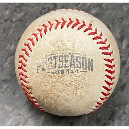 Photo of 2014 NLCS Game 3 Game Used Baseball used on 10/14 vs. St. Louis Cardinals - B-10: Randy Choate to Juan Perez - Single to LF & Gregor Blanco - Foul Ball