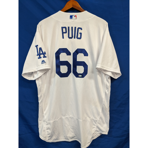 Photo of Yasiel Puig Game Used Home Jersey (09/07/2016, Hit HR)