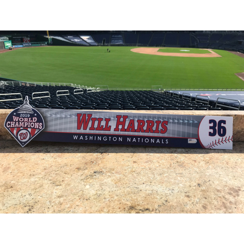 Photo of Will Harris Game-Used 2020 Locker Tag