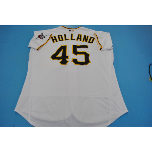 Photo of Game-Used Jersey - MIL at PIT - 7/27/2020 - Derek Holland Home Jersey