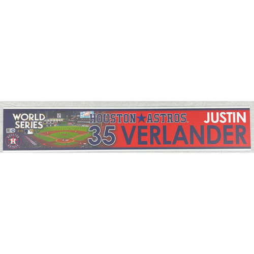 Photo of Justin Verlander Team-Issued 2017 World Series Locker Tag