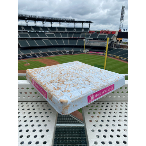 Photo of MLB Authenticated Game-Used 1st Base During the 2021 Mother's Day Game vs Philadelphia Phillies. Base Used Between Innings 1-3.