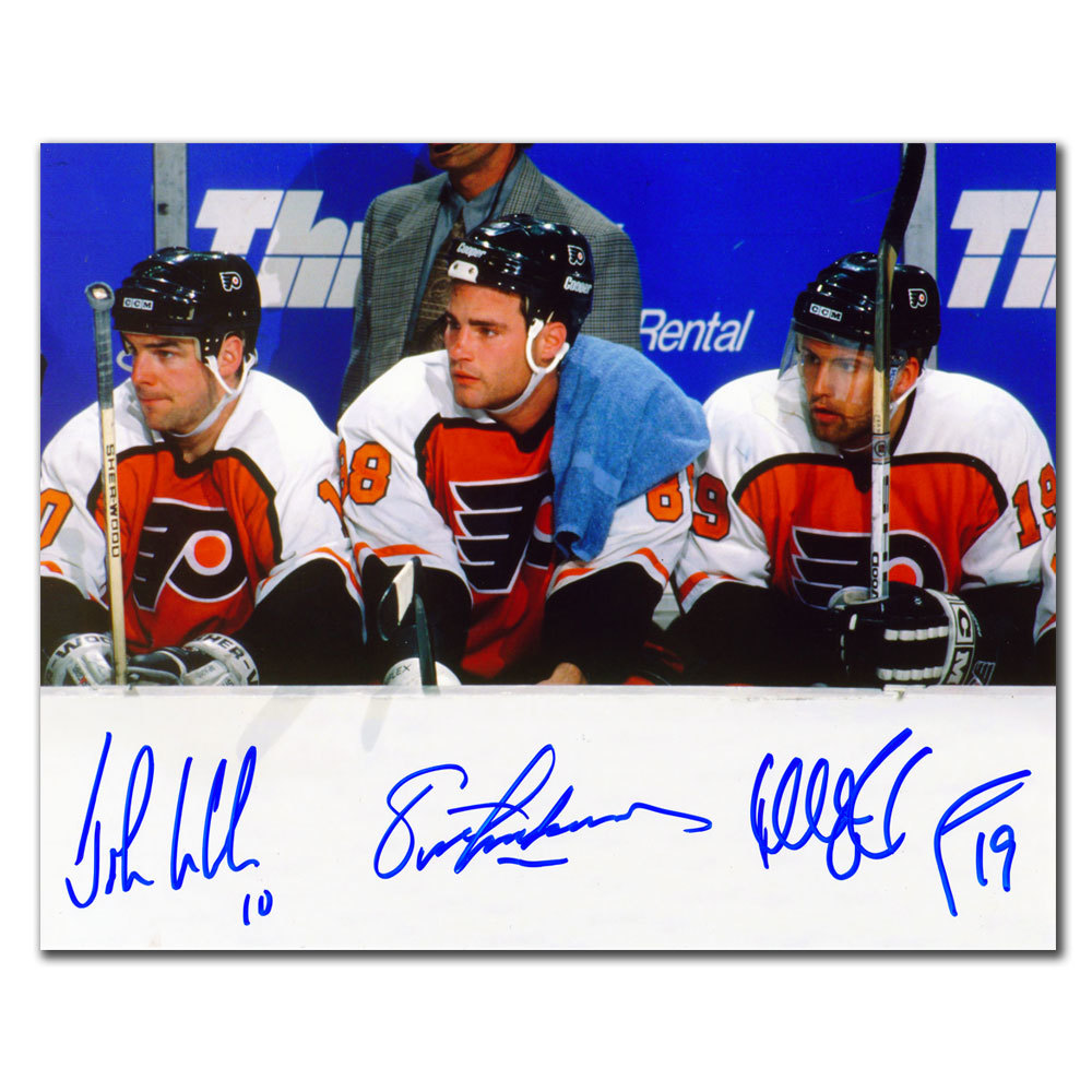 Eric Lindros, John LeClair & Mikael Renberg Legion of Doom Philadelphia Flyers Autographed 8x10