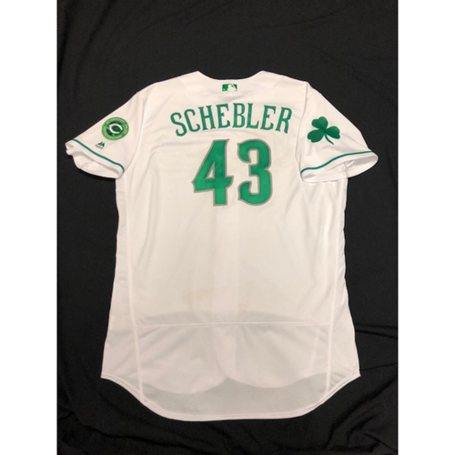Photo of Scott Schebler -- Reds 40th Anniversary St. Patrick's Day Jersey -- Game-Used