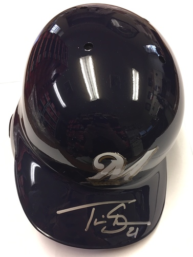 Photo of Travis Shaw Autographed Brewers Batting Helmet